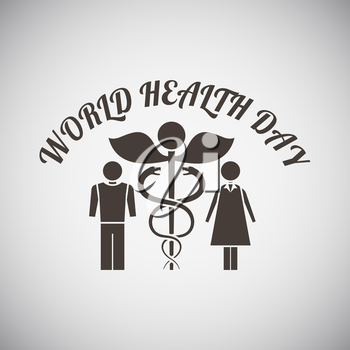Health day emblem with medicine symbol and man with woman on side of it on grey background. Vector illustration.