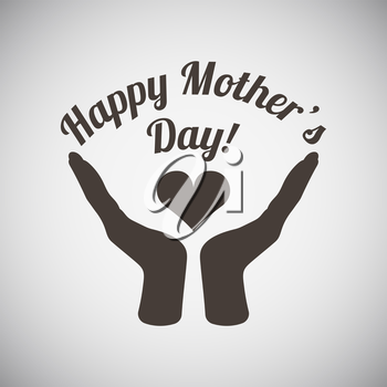 Mother's day emblem with two  hand holding heart . Vector illustration.