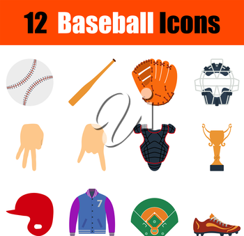 Flat design baseball icon set in ui colors. Vector illustration.