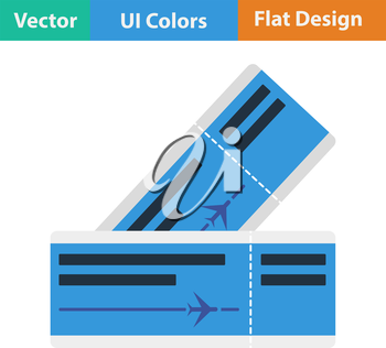 Flat design icon of two airplane tickets in ui colors. Vector illustration.