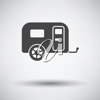 Camping family caravan car  icon on gray background with round shadow. Vector illustration.