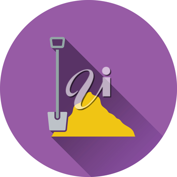 Icon of Construction shovel and sand. Flat design. Vector illustration.