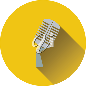 Old microphone icon. Flat design. Vector illustration.