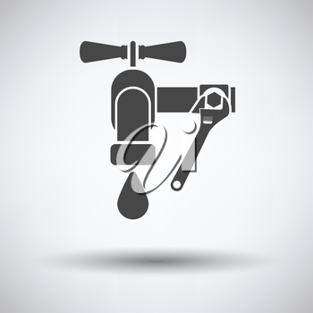 Icon of wrench and faucet on gray background with round shadow. Vector illustration.
