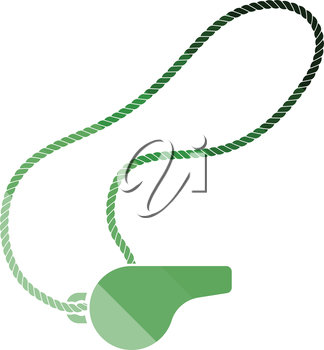 Whistle on lace icon. Flat color design. Vector illustration.