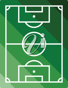Icon of aerial view soccer field. Flat color design. Vector illustration.