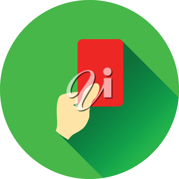 Icon of football referee hand with red card. Flat color design. Vector illustration.