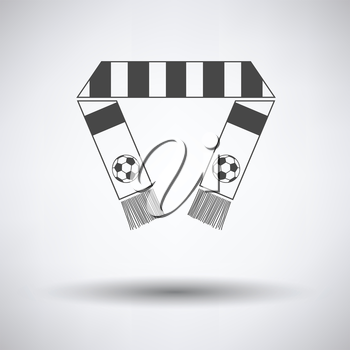 Football fans scarf icon on gray background, round shadow. Vector illustration.