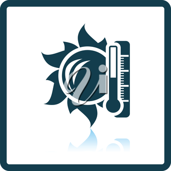 Sun and thermometer with high temperature icon. Shadow reflection design. Vector illustration.