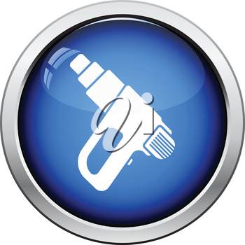 Icon of electric industrial dryer. Glossy button design. Vector illustration.