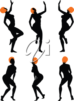 Naked sexy girls silhouette set. Very smooth and detailed with color hairstyle. Vector illustration.