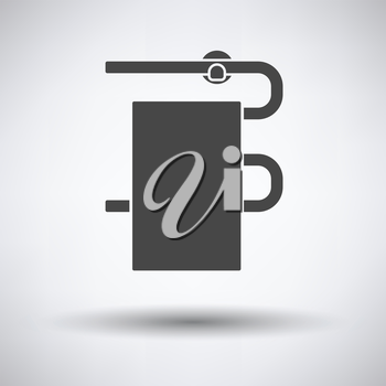 Heated towel rail icon on gray background with round shadow. Vector illustration.