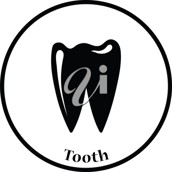 Tooth icon. Thin circle design. Vector illustration.