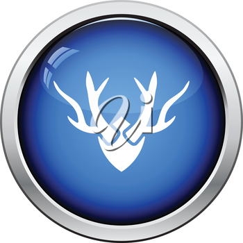 Deer's antlers  icon. Glossy button design. Vector illustration.