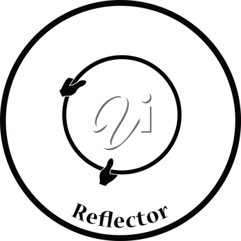 Icon of hand holding photography reflector. Thin circle design. Vector illustration.