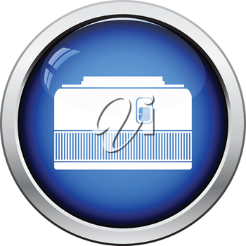 Icon of photo camera 50 mm lens. Glossy button design. Vector illustration.