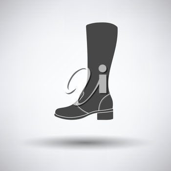 Autumn woman boot icon on gray background with round shadow. Vector illustration.