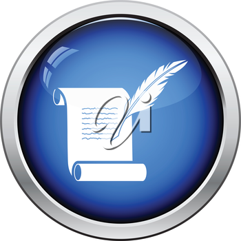 Feather and scroll icon. Glossy button design. Vector illustration.