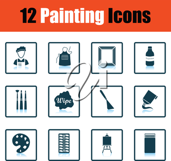 Set of painting icons. Shadow reflection design. Vector illustration.
