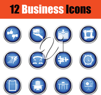 Business icon set.  Glossy button design. Vector illustration.
