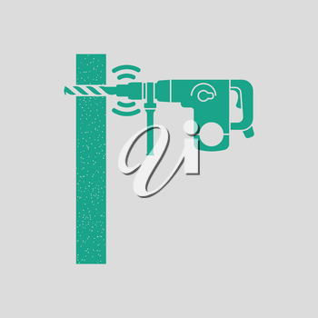 Icon of perforator drilling wall. Gray background with green. Vector illustration.