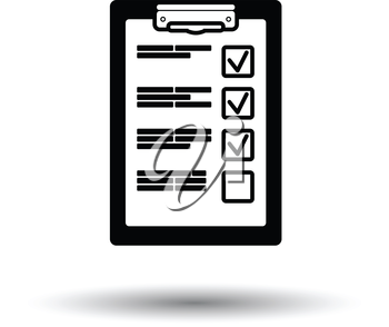 Training plan tablet icon. White background with shadow design. Vector illustration.