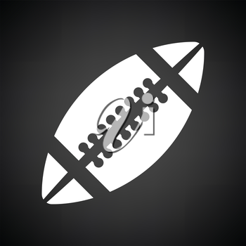 American football icon. Black background with white. Vector illustration.