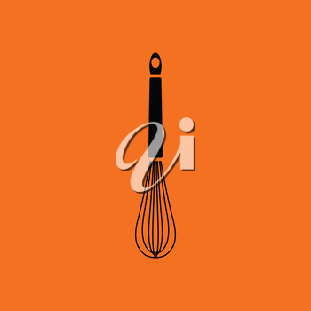 Kitchen corolla icon. Orange background with black. Vector illustration.