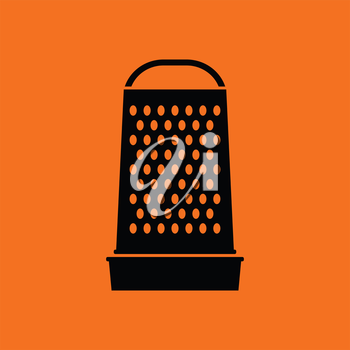 Kitchen grater icon. Orange background with black. Vector illustration.