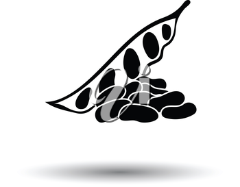 Beans  icon. White background with shadow design. Vector illustration.