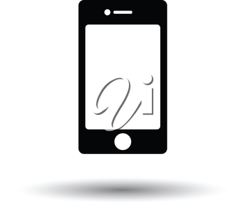 Smartphone icon. White background with shadow design. Vector illustration.