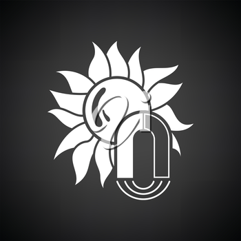 Magnetic storm icon. Black background with white. Vector illustration.