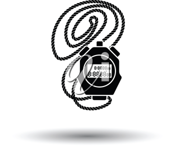 Coach stopwatch  icon. White background with shadow design. Vector illustration.