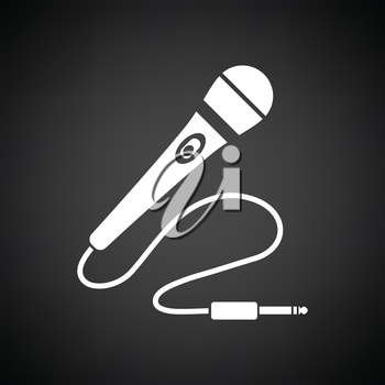 Karaoke microphone  icon. Black background with white. Vector illustration.