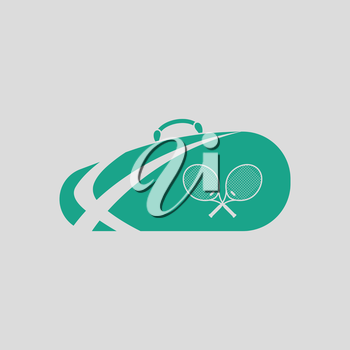 Tennis bag icon. Gray background with green. Vector illustration.