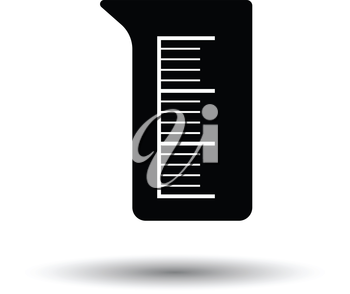 Icon of chemistry beaker. White background with shadow design. Vector illustration.