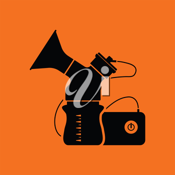 Electric breast pump icon. Orange background with black. Vector illustration.