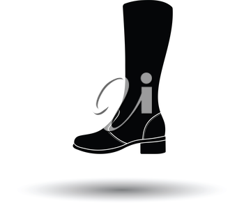 Autumn woman boot icon. White background with shadow design. Vector illustration.