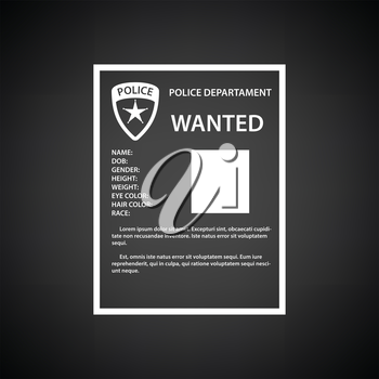 Wanted poster icon. Black background with white. Vector illustration.