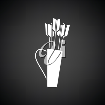 Quiver with arrows icon. Black background with white. Vector illustration.