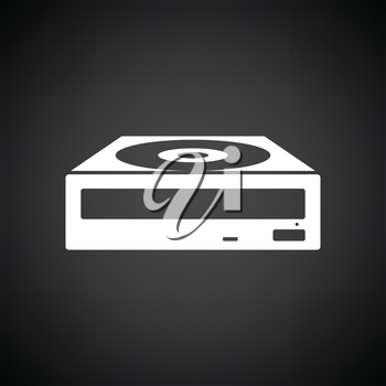 CD-ROM icon. Black background with white. Vector illustration.