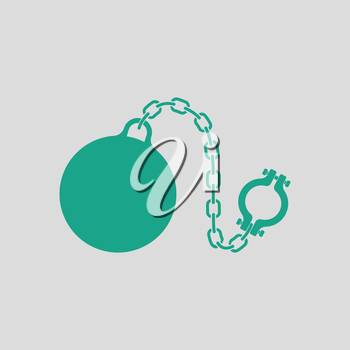 Fetter with ball icon. Gray background with green. Vector illustration.