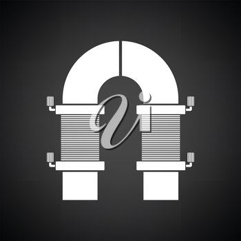 Electric magnet icon. Black background with white. Vector illustration.