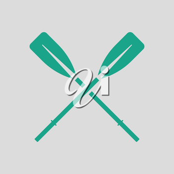 Icon of  boat oars. Gray background with green. Vector illustration.