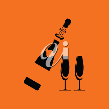 Party champagne and glass icon. Orange background with black. Vector illustration.