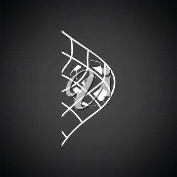Soccer ball in gate net icon. Black background with white. Vector illustration.