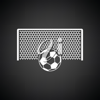 Soccer gate with ball on penalty point  icon. Black background with white. Vector illustration.