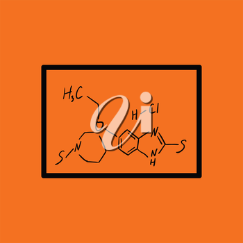 Icon of chemistry formula on classroom blackboard. Orange background with black. Vector illustration.