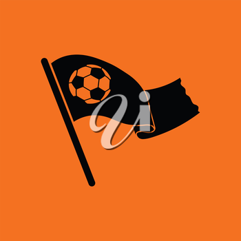 Football fans waving flag with soccer ball icon. Orange background with black. Vector illustration.