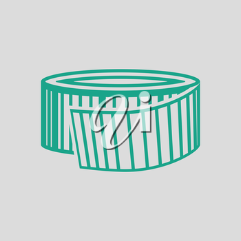 Measure tape icon. Gray background with green. Vector illustration.